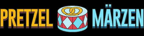 Pretzel Märzen logo. A drum centered with a pretzel on it.